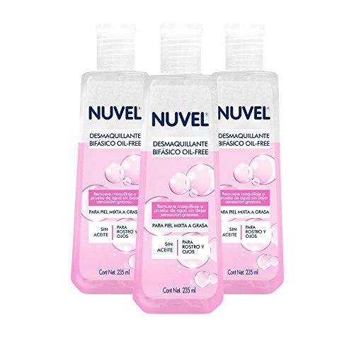 Desmaquillante Bifásico Oil Free para Rostro y Ojos Nuvel 235 ml (Paquete de 3 pzas.)