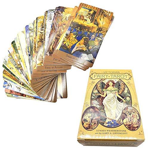 78PCS Tarotkarten, Tarotkarten für viktorianische Feen, Englisch, Deck-Brettspielkarte, leicht zu tragende Kinder Lernspielzeug Familienfreund Partykarten Wahrsagungskarten