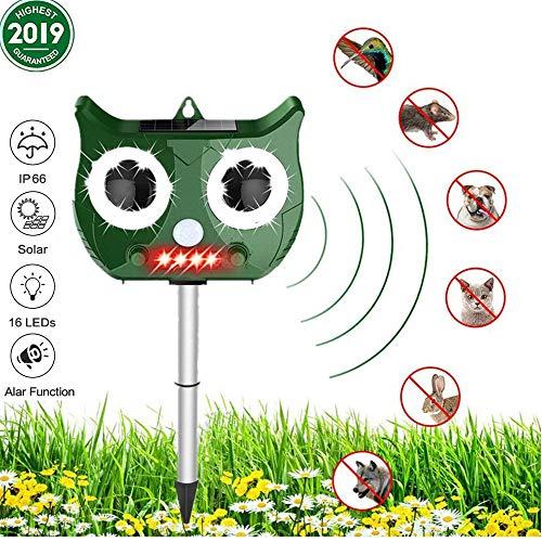 LINGKY Katzenschreck Ultraschall Solar, wasserdichte Utraschall Abwehr, PIR-Sensor und Blinklicht, 5 einstellbare Modi, für Hof/Rasen/Garten/Bauernhof, USB/Batteriebetrieb