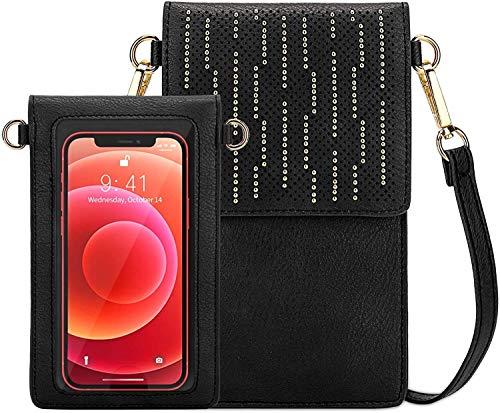 SeOSTO Handy Schultertasche, Kleine Tasche Umhängetasche für Damen Frauen (Black Stripe)