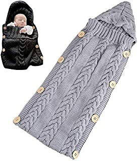 KOBWA Newborn Baby Wrap Swaddle Blanket - Knitting Pattern Baby Sleeping Bag, Baby Photo Props Blanket, Colorful Baby Sleep Sack Stroller Blanket Wrap for 0-12 Months Unisex Baby, 23.610.2inch