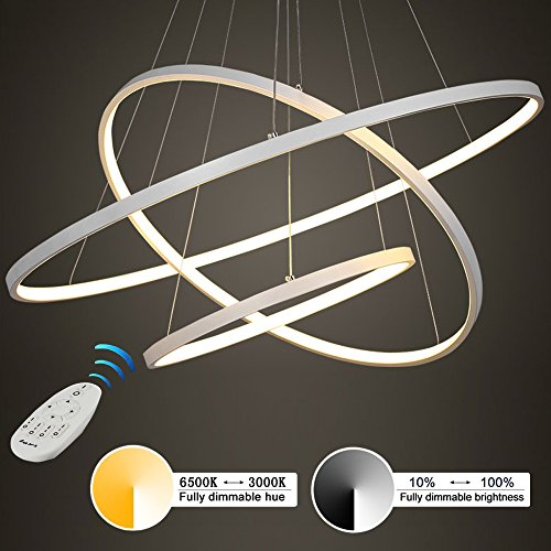 Moderne LED 3 anneau pendentif éclairage, acrylique et métal lustre de bureau plafonnier luminaire pour la maison et le studio, gradation stepless 3000 K-6500K Hauteur réglable (60 * 40 * 20)