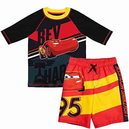 Disney Cars Lightning McQueen Toddler Boys Rash Guard Swim Trunks Set Black/Red 3T