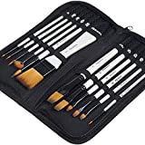 MEEDEN Artist Paint Brushes Set of 12 Pcs,Acrylic Paint Brush,Soft Nylon Hair with Pearl White Grip in Carrying Case,Art Painting Brush for Acrylic Watercolor Oil Gouache Canvas Boards Body