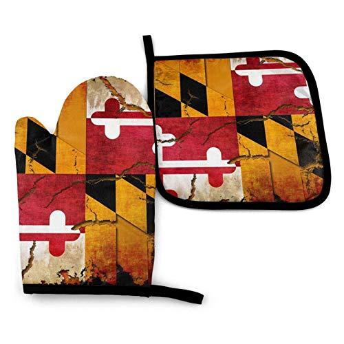 Guantes de horno y ollas de madera con estampado de bandera de Maryland vintage, guantes de cocina impermeables resistentes al calor para cocinar, hornear, barbacoa, asar a la parrilla