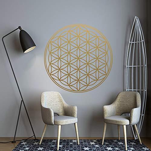 Mandala tallado patrón dorado Mandala flor de la vida etiqueta de la pared vinilo arte calcomanía dormitorio sala de estar oficina club de yoga tienda decoración del hogar mural