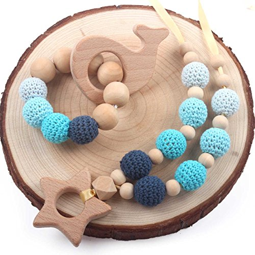 HI BABY MOMENT Wooden Teething Necklace for Babies 2Pack Drooling & Teething Pain Reduce Properties Natural Jewelry, Blue Sea and Sky, Whale and Star