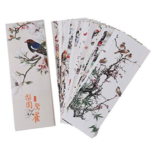 FURU 30pcs Bookmarkers Chinesische Stil Blumen Vögel Lesezeichen Papier Seite Notizen Label Book Marker