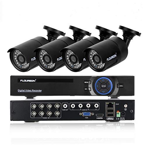 DVR Kit Videosorveglianza FLOUREON 8CH 1080N AHD HDMI DVR 4 * 960P 2000TVL 1.3MP Telecamera Esterno, Backup USB Allarme Email Sistema di Sicurezza Hard Disk Non Incluso