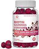 Lunaki Biotin Hair Skin and Nails Gummies with Vitamin C and E - Non-GMO Vegan No Corn Syrup Gummy Promotes Natural Collagen, Keratin and Hair Growth 30 Day Supply