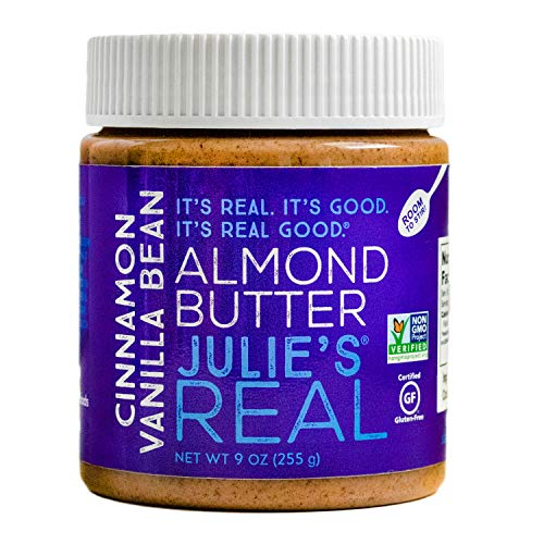 Julie's Real Almond Butter, Cinnamon Vanilla Bean - Certified Non-GMO, Gluten Free, Paleo, No Palm Oil, Peanut Free - 9oz Jar