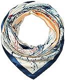 Corciova 35' Large Women's Satin Square Silk Feeling Hair Scarf Wrap Headscarf Prussian Blue and Beige Trees Pattern