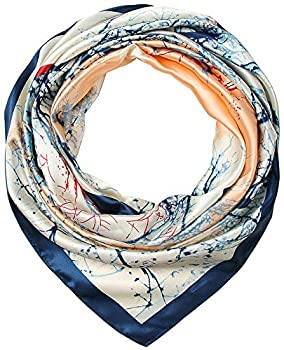 Corciova 35  Large Women s Satin Square Silk Feeling Hair Scarf Wrap Headscarf Prussian Blue and Beige Trees Pattern