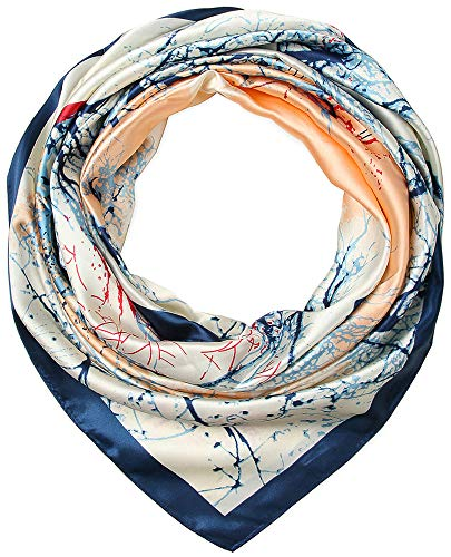 Corciova 35 Large Women's Satin Square Silk Feeling Hair Scarf Wrap Headscarf Prussian Blue and Beige Trees Pattern