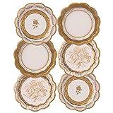 Pacchetto di 12 Piatti da festa in porcellana d'oro vintage | 3 Disegni Unico, Glamour, Elegante, Usa e getta | Per matrimoni, Anniversario, Tè pomeridiano, Compleanno, Occasione, Celebrazione