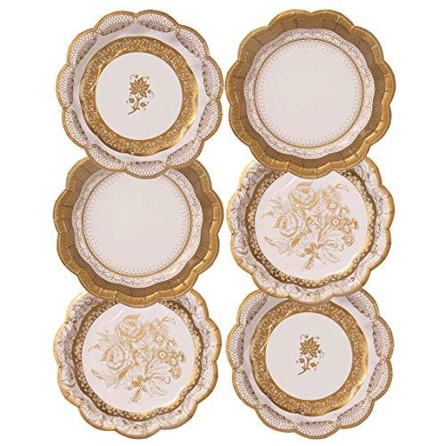 Talking Tables Party Porcelain Gold Petites Assiettes en Carton Style Vintage pour Noël, Mariage et Réception ou Dîner, Multicolore, 18 cm (Paquet de 12 contenant 3 modèles) PPG-PLATE-SML