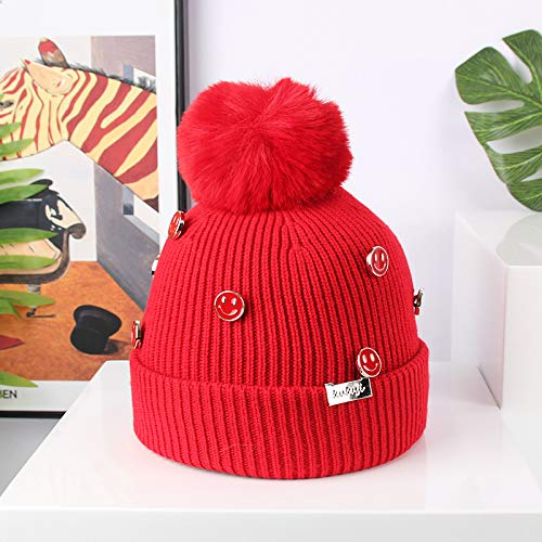 wtnhz Artículos de Moda Más Sombrero de Marea cálida de Terciopelo versión Coreana del botón de Cara Sonriente Cosido a Mano Sombrero de Lana Sombrero para niños otoño e inviernoRegalo de Vacaciones