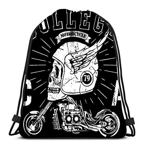 Rucksack Herren Damen Vintage Biker-Schädel-Emblem Turnbeutel Multifunktion Stilvoll Sportbeutel Für Herren Damen