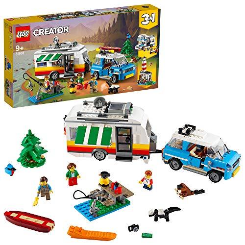 LEGO 31108 Creator 3-in-1 Campingurlaub Spielset mit Auto, Wohnmobil, Leuchtturm, Konstruktionspielzeug