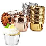 Disposable Ramekins, Eusoar 3.5 Oz 150Pcs Aluminum Foil Cupcake Muffin Liners Wrappers, Cupcake Baking Cups, Disposable Pie Pans Cups, Foil Baking Cups for Party Wedding Birthday