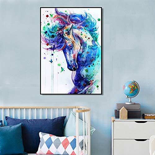 SADHAF Pop Art Tiermalerei Poster und Druck Wandkunst Leinwand abstrakte Malerei Aquarell Pferd Bild für Wohnzimmer Dekoration A3 50x70cm