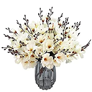 Artificial Magnolia Flower Silk Flowers Branches Faux Flower Bouquet for Home Wedding Decoration,Home Decor Party Garden Office (White)