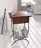 Dekoleidenschaft Beistelltisch Country-Styleaus Holz & Metall, braun, im Antik Design, mit Schublade & Zeitungs-Ablage, rustikaler Shabby-Look