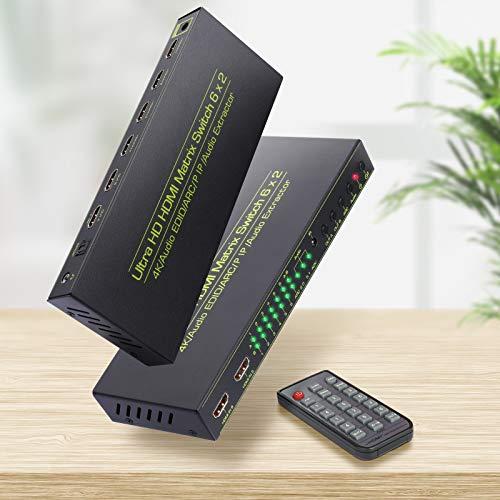 4k HDMI Matrix Ippinkan 6x2 Switch Splitter Extender HDMI Matrix Soporte 4k 3D Full HD Video Soporte ARC SPDIF Pip Matrix Audio Extractor HDMI con función de Memoria y Control Remoto