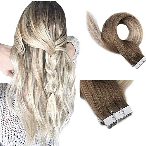 Full Shine 18 Inch Tape In Colored Hair Extensions Color 8 Light Brown Fading To 60 and 18 Ash Blonde 20 Pieces Tape In Extensions Remy Human Hair Invisible Tape Ins 50 Grams Per Pack