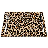 DearLord Manteles individuales de mesa resistentes al calor, lavables y de PVC, diseño de leopardo, color naranja