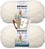 Bernat Baby Blanket Yarn - Big Ball (10.5 oz) - 2 Pack with Pattern Cards in Color (Vanilla)