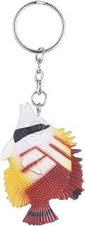 ميدالية مفاتيح على شكل سمك من توي ميجور - بني وابيض