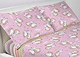 BIANCHERIAWEB Completo Lenzuola in 100% Cotone Disegno Unicorno Matrimoniale Unicorno