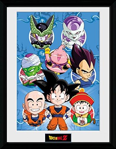 1art1 Dragonball Z - Chibi Characters Gerahmtes Bild Mit Edlem Passepartout | Wand-Bilder | Kunstdruck Poster Im Bilderrahmen 40 x 30 cm