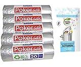 bama poker sak, Sacchetti Pattumiera, 60x65 cm, 5 Confezioni da 20 Sacchi più Omaggio Bus...