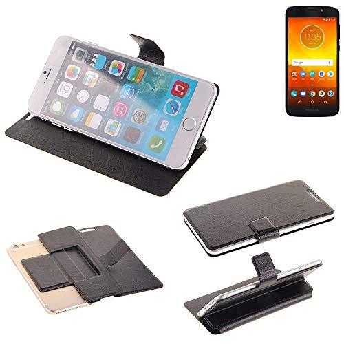 K-S-Trade Handy Schutz Hülle Für Motorola Moto E5 Dual SIM Flip Cover Handy Wallet Hülle Slim Bookstyle Schwarz