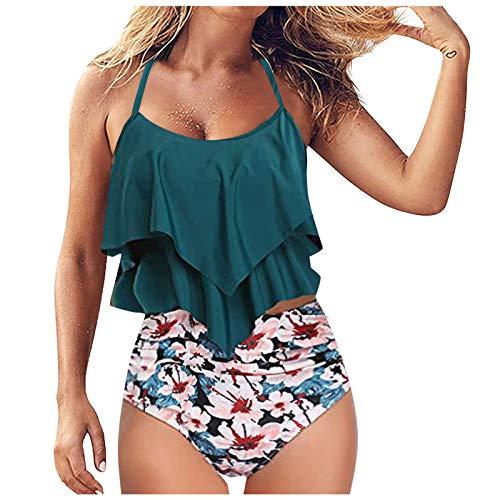 YANFANG Conjunto de Bikini Dividido Degradado de Contraste de Pecho Alto Sexy para Mujer Traje de baño de una Pieza,Ropa de Playa Triangulo Tanga Bikini Set