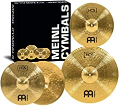 """The HCS Set includes a 14"""" hi hat pair, 18"""" crash/ride cymbal, plus a FREE 14"""" crash (MSRP $66.00) The HCS box set is drum set ready with standard sizes for full range of sounds HCS cymbals from MEINL are medium weight with a traditional finish and l..."""