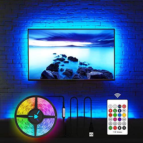 LED Hintergrundbeleuchtung für Fernseher USB TV Beleuchtung 50 Zoll TV LED Streifen USB TV Backlight (50 Zoll, 20 Farben, RF Remote, 3m)