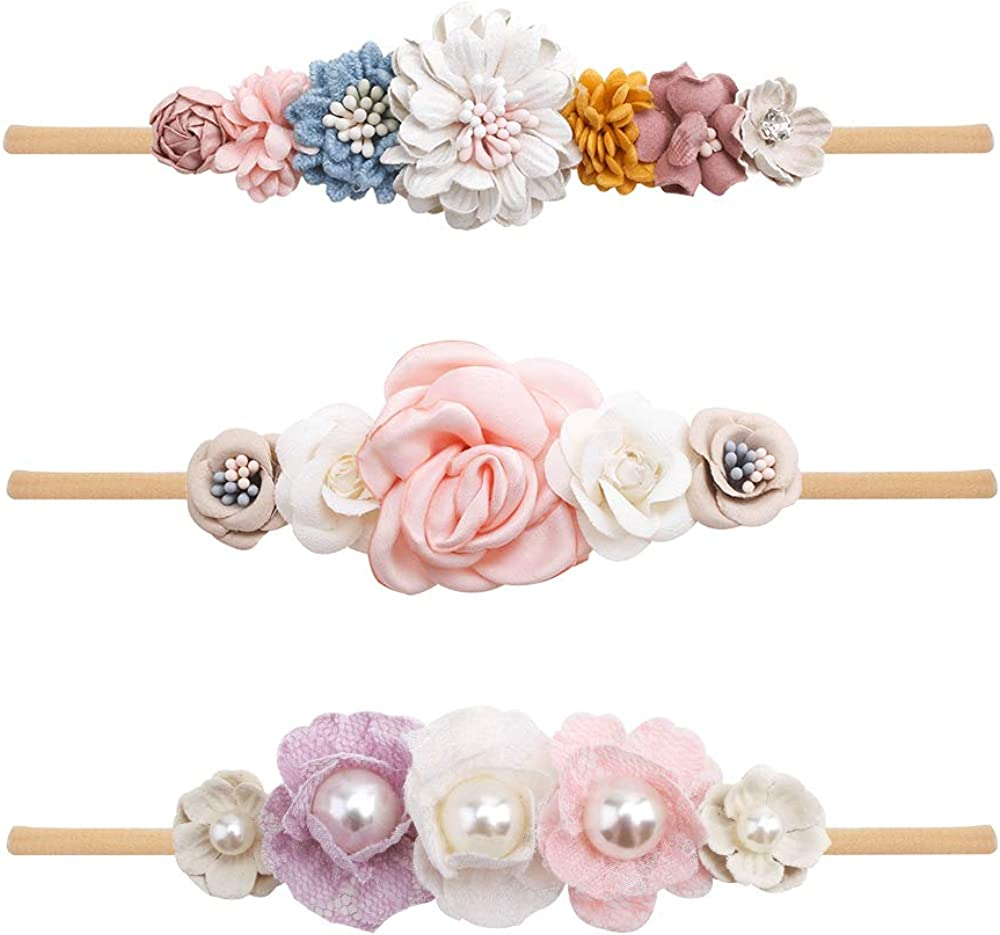 Baby Girl Flower Headbands Set-Elastic Band Crown Outlet sale feature Branded goods Wr Hair