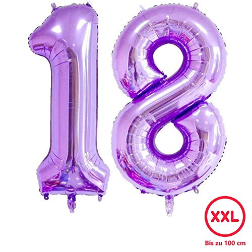DIWULI, gigantische XXL Zahlen-Ballons, Zahl 18, lila Luftballons, Zahlenluftballons lila, Folien-Luftballons groß Nummer Nr Jahre, Folien-Ballons 18. Geburtstag, Party-Deko, Dekoration, Geschenk-Deko