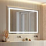 smartrun 48'X 36' LED Mirror Wall Mounted Horizontally&Vertically with ONE Dimmable Memory Touch Button, Anti-fog Function - White 6000K High Lumens Lighted Vanity Mirror Anti-fog with ETL Certificati