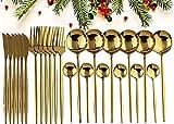 GUANGE Juego de cubiertos de 24 piezas, juegos de cubiertos de acero inoxidable, juego de cucharas y tenedores, servicio para 6, cubiertos con espejo, tenedores y cucharas, cubiertos, dorado