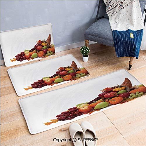 Bathroom Rug Carpet Harvest,Fall Arrangement with Fruits of The Season in a Cornucopia Bountiful Harvest Corn Decorative,Multicolor Non-Slip Soft
