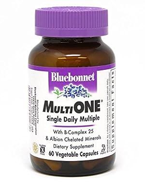 Bluebonnet Nutrition Multi One (with Iron) Vegetable Capsules, Complete Full Spectrum Multiple Vitamin Supplement, B Vitamins, Gluten Free, Milk Free, Kosher, 60 Vegetable Capsules, 2 Month Supply