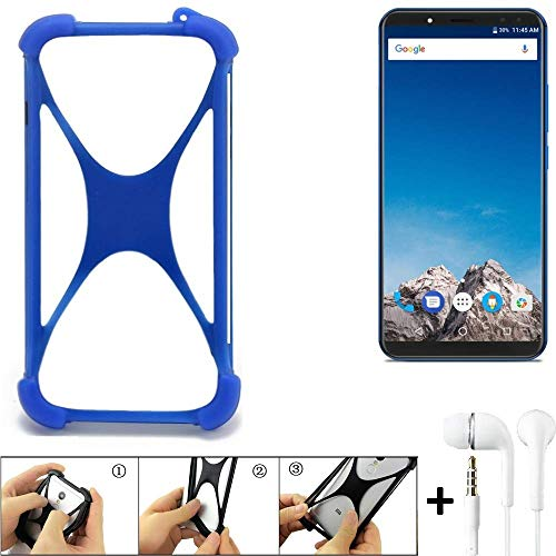 K-S-Trade® Bumper Für Vernee X Schutzhülle Handyhülle Silikon Schutz Hülle Cover Case Silikoncase Silikonbumper TPU Softcase Smartphone, Blau (1x), Headphones