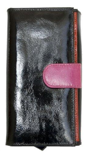 Portafoglio multicolore nero-rosa in vera pelle lucido sventato