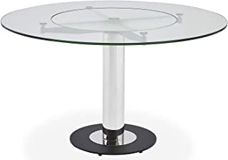 Zuri Furniture Fiore Modern Round Glass Dining Table with Chrome Base