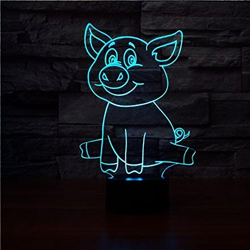 Cute Pig 3D lamp Night Light Touch Table Desk Optical Illusion Lamps 7 Color Changing Lights Home Decoration Xmas Birthday Gift