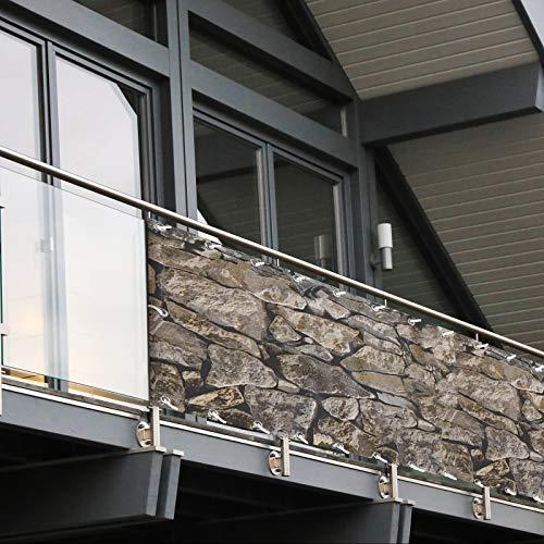Balkon Sichtschutz PVC | 90x600 cm | Extra Blickdicht | Wetterfest | mit UV-Schutz | Deko für Balkongeländer | 6 Farben & Designs (Sandstein)